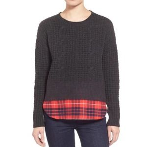 Madewell wintermix cable knit plaid sweater
